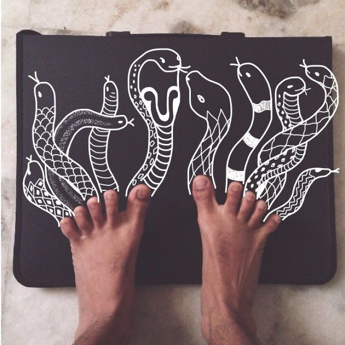 I Add Weird Illustrations To Photos Of My Friends' Feet (part 2)