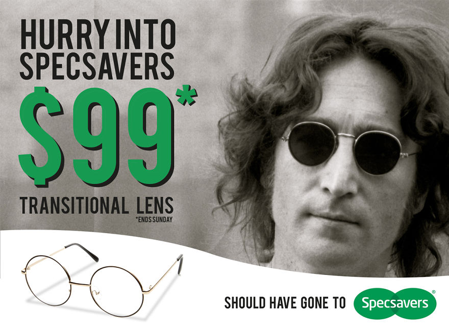 what if pop stars from the past posed for modern brands bored panda john lennon should have gone to specsavers