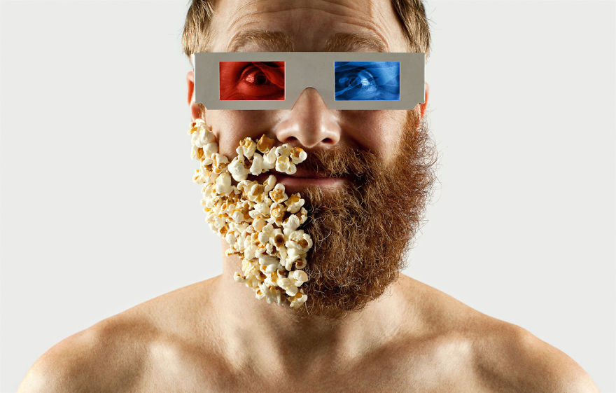 Artist Completes His Half-shaved Hipster Beard With Random Objects