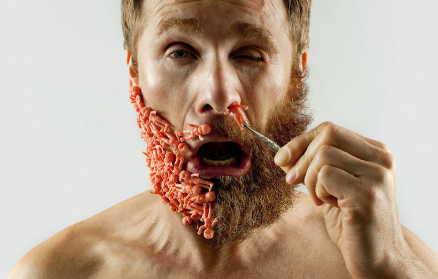 artist completes his half shaved hipster beard with random objects