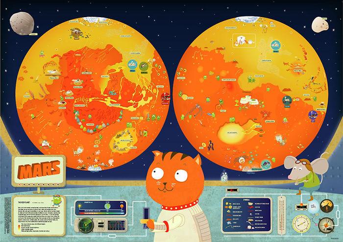 Hand-Drawn Maps Of Planets And Moons For Children