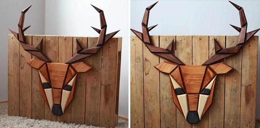 Wooden Zoo: I Make Geometric Animal Heads From Wood