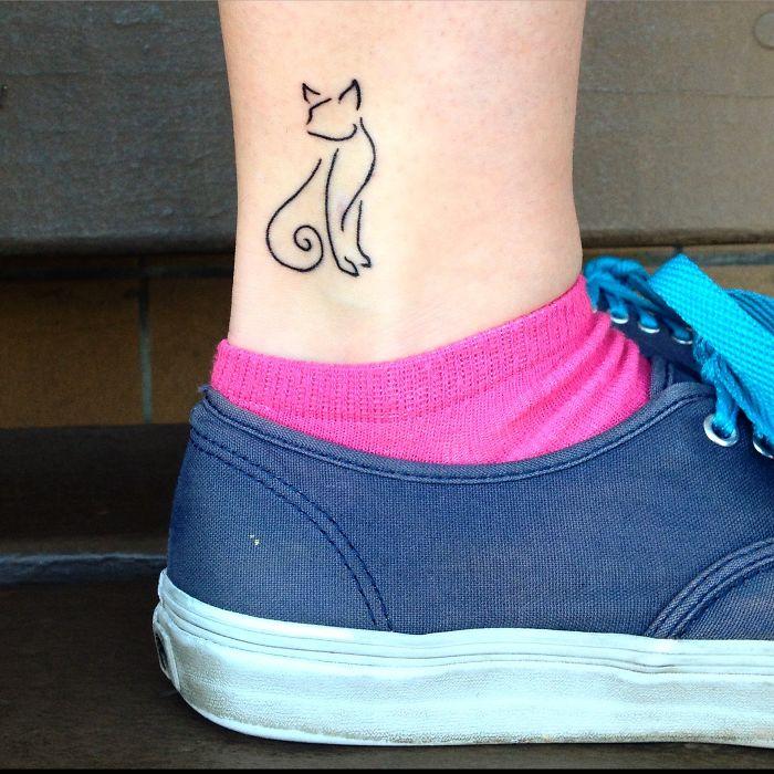 Self-drawn Ankle Cat Tattoo =^..^=