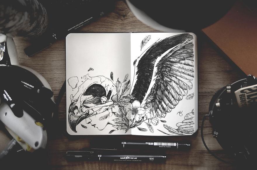 Surreal Creatures Bloom And Burst Across My Sketchbook