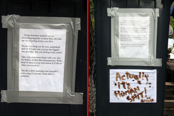 Wheelie Wars: A Warning To An Irresponsible Dog Owner, And The Reply That Appeared Next Day!