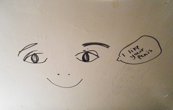 This Is Some Graffiti On The Ceiling Of The Bathroom Of A Local Concert Venue