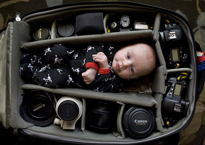 Photographers Take Adorable Pics Of Their Babies Sleeping In Camera Bags