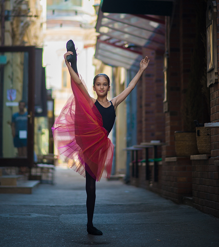 Little Ballerina Shows Her Grace In The Streets Of Bucharest, Romania