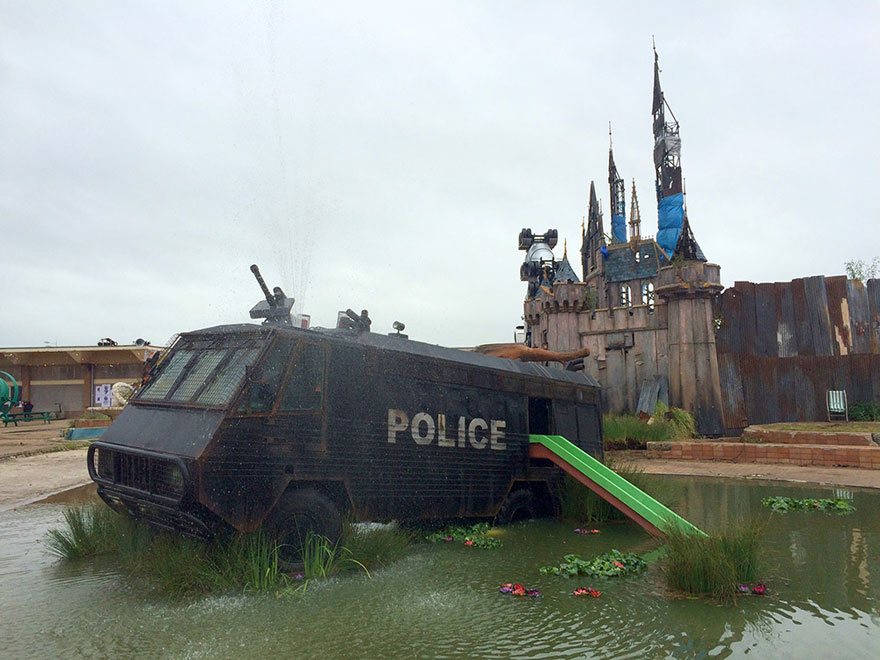 Banksy s dismaland take a first look inside nightmare - Hotels weston super mare with swimming pool ...