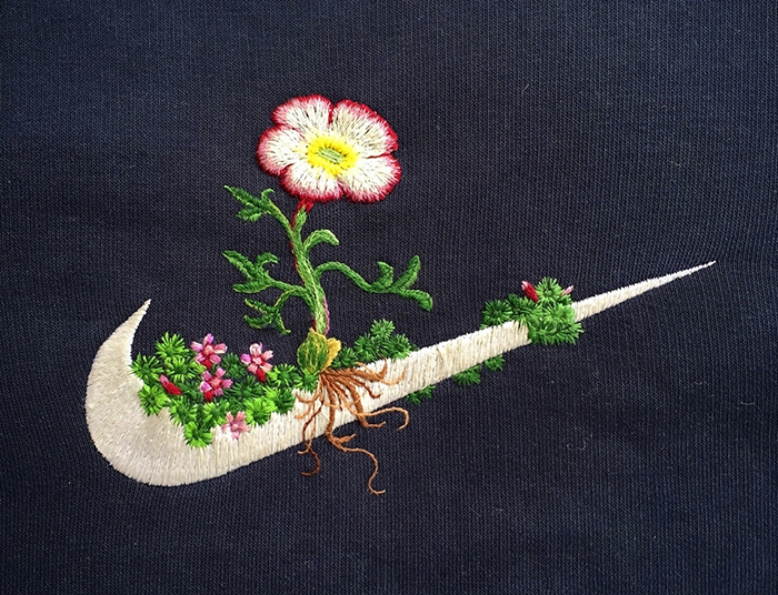 Artist Decorates Sport Logos With Embroidered Flowers