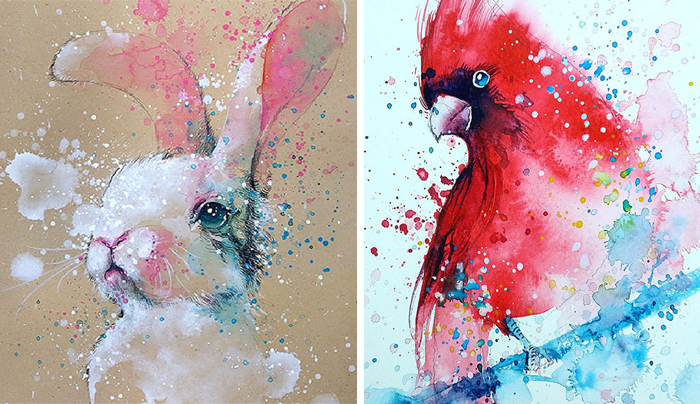 Splashed Watercolor Paintings By Tilen Ti
