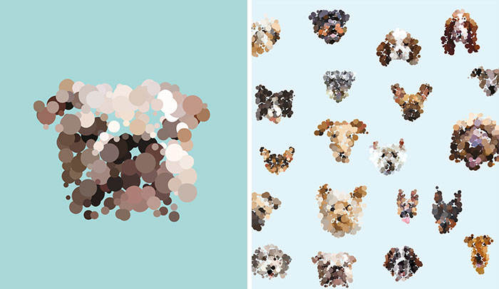 I Create Dot Portraits Of Dogs That Can Only Be Seen From The Distance