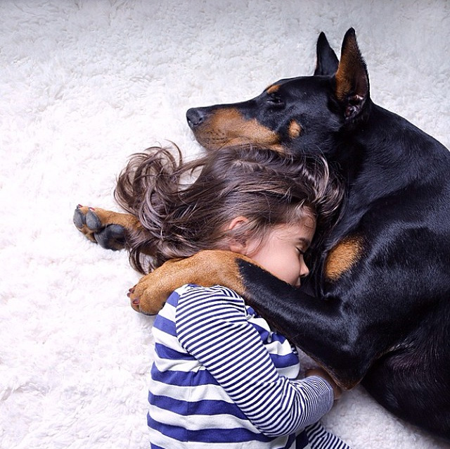 Cutie & The Beast: Girl And Doberman Do Everything Together From Sleeping To Bathing
