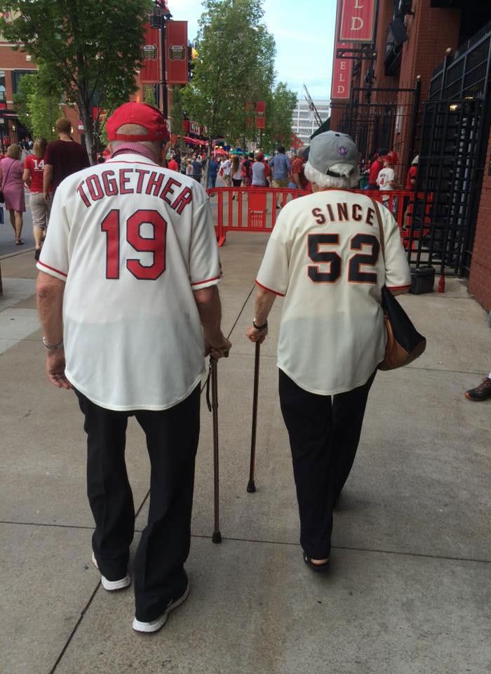Elderly Couple Married For 63 Years Wear Adorable Rival Jerseys To Baseball Game