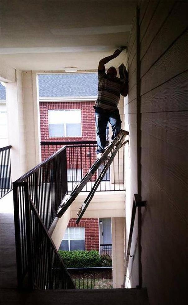 Unsafe Ladder In Stairwell