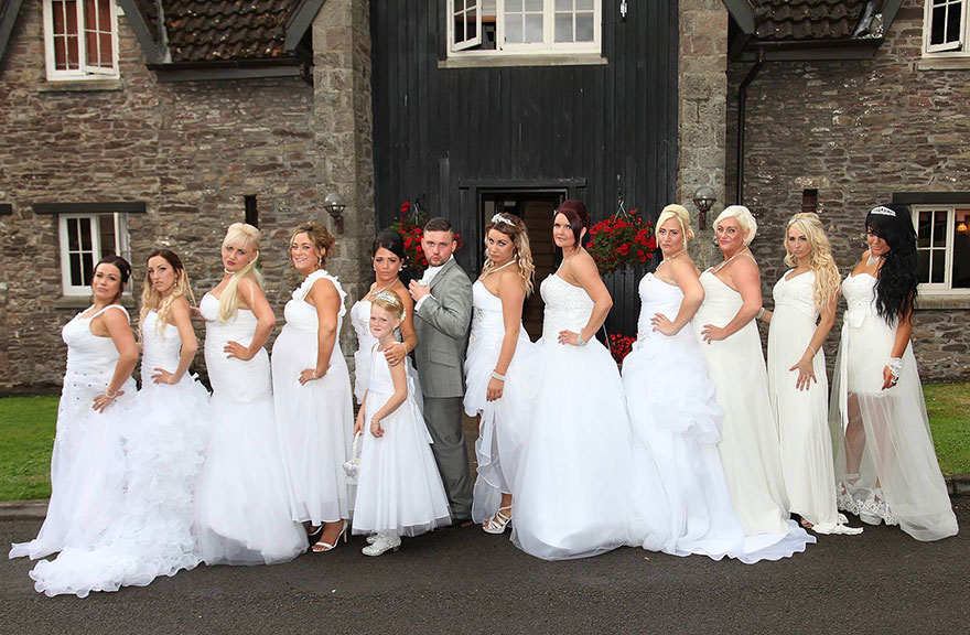 This Gay Couple Asked All Their Bridesmaids To Wear Wedding Dresses ...