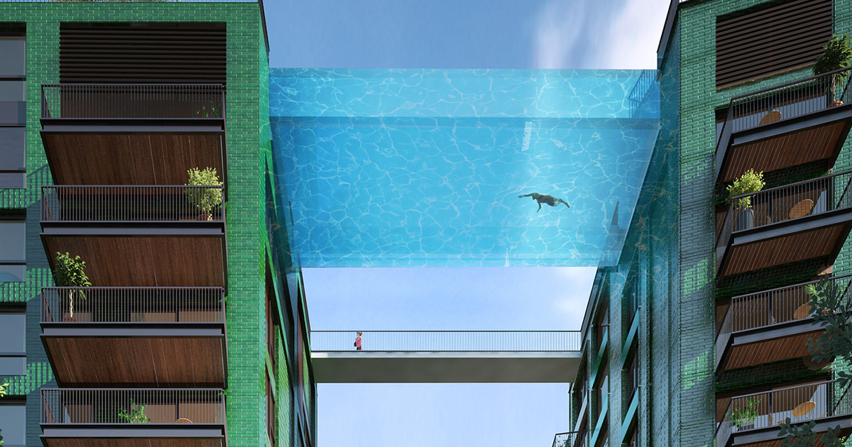 World S First Glass Bottom Sky Pool Will Let You Swim 115 Feet Above London Bored Panda