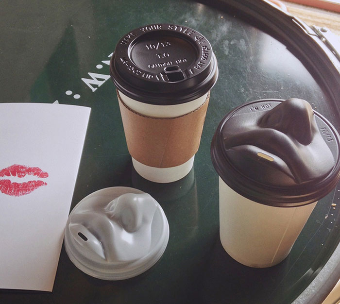 Human Face Coffee Lids Let You Kiss Your Morning Cup