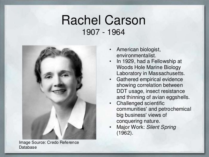"Rachl Carson. Author Of ""silent Spring"" (1962) And Mother Of The Enviromental Movement"