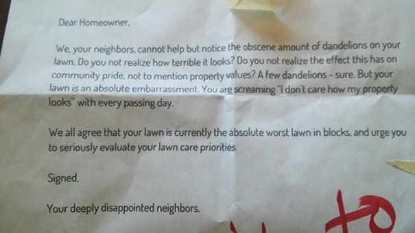 This Anonymous Note Was Taped To An Iron Bench In Front Of Our House
