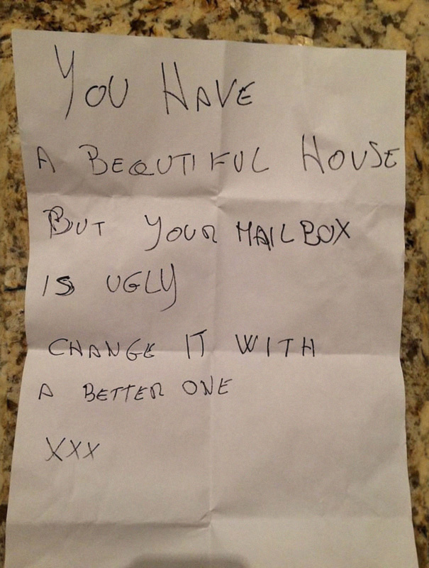 This Note Was Left In Our Temporary Mailbox