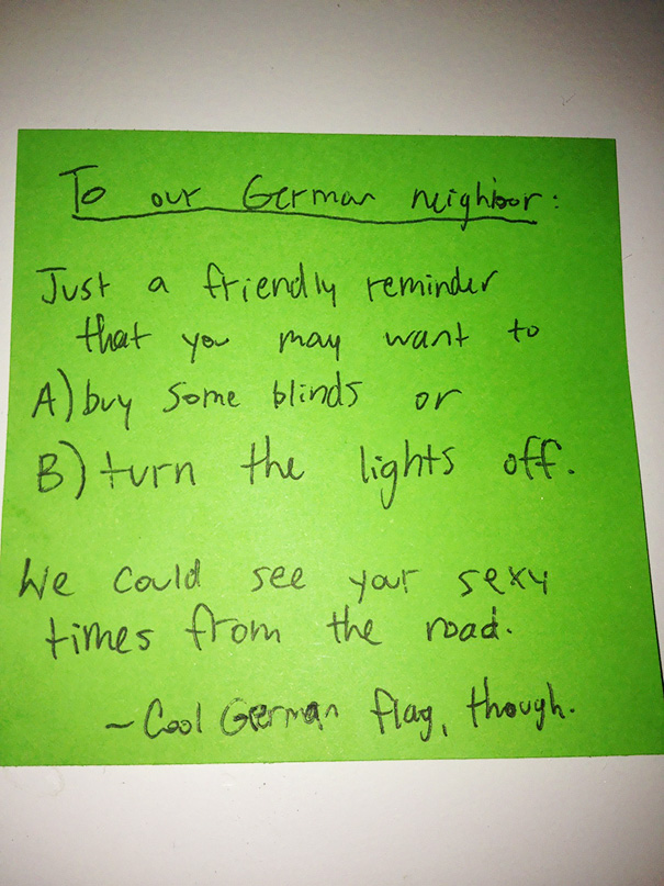 The Note That My Frat Bro Neighbors Got Today