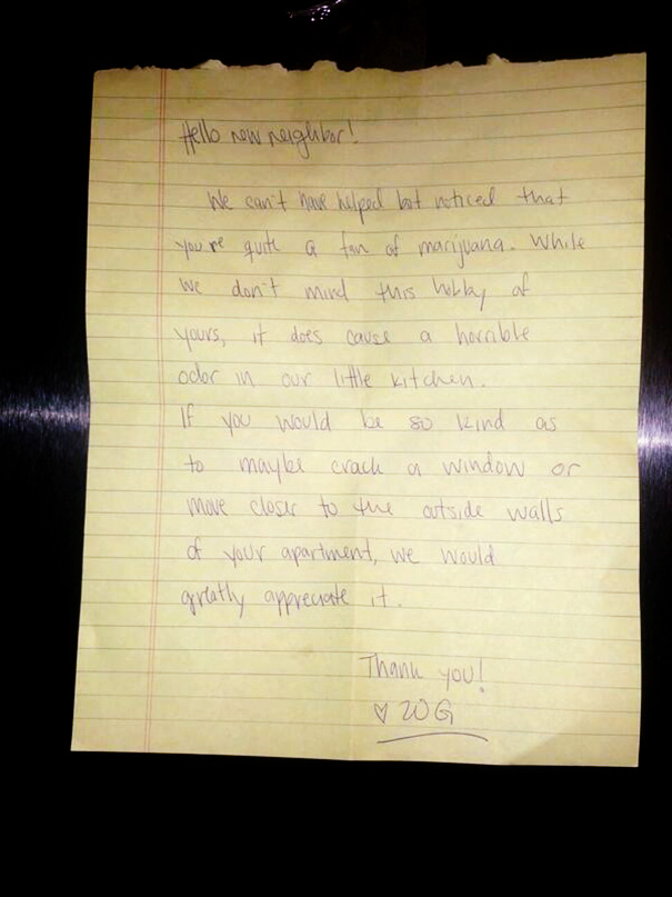 Nice Little Note Our Neighbors Left On Our Door Last Night