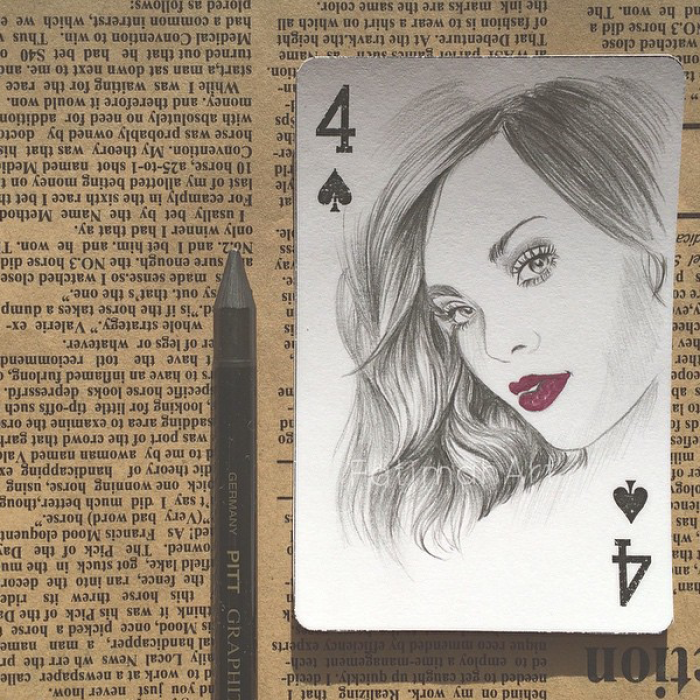 I Really Wanted To Do Something Different So I Used Playing Cards As A Canvas For My Art