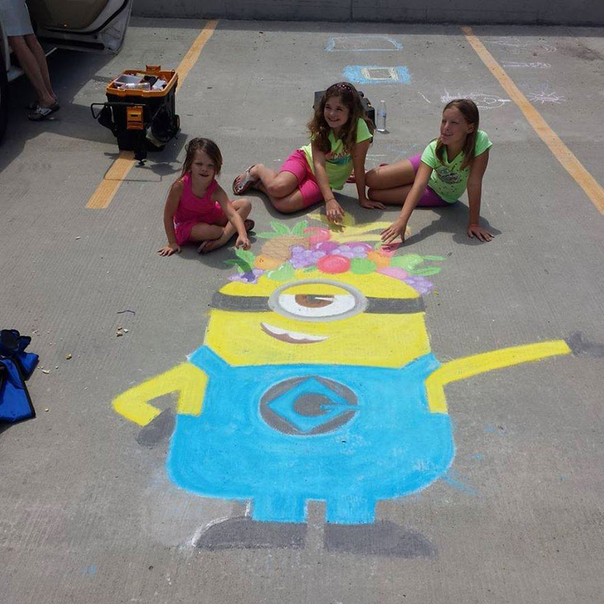 Kid Drawing Sidewalk Chalk Art