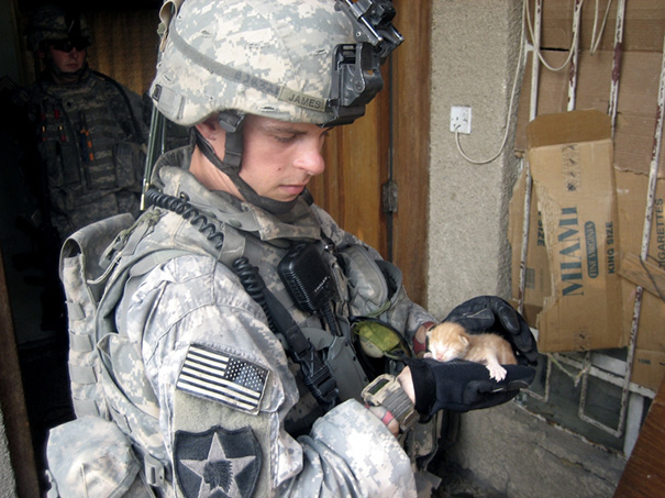 Soldier With A Kitten