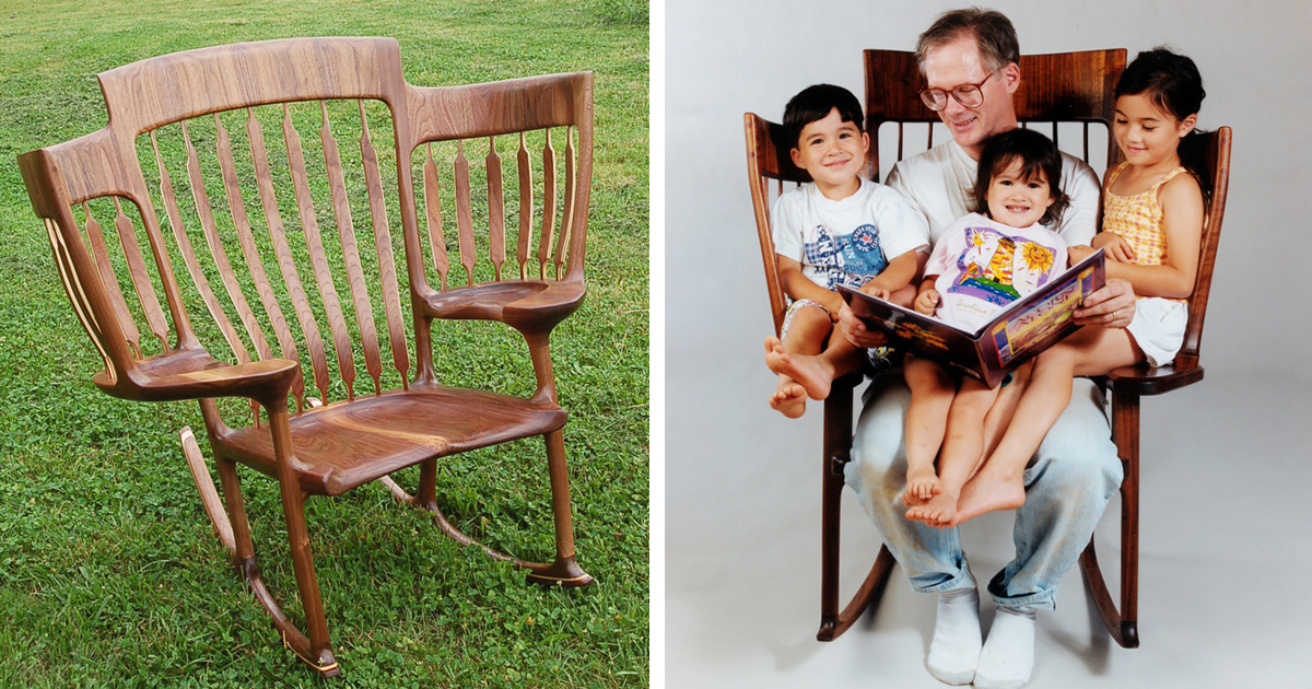 Dad builds triple rocking chair so he could read to his 3 for Toddler reading chair
