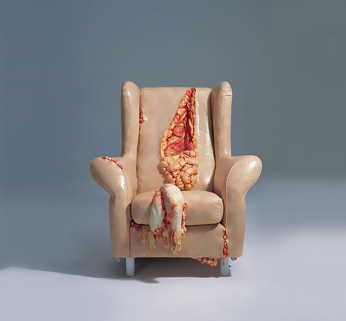 Disturbing Insides Of Leather Objects By Chinese Sculptor