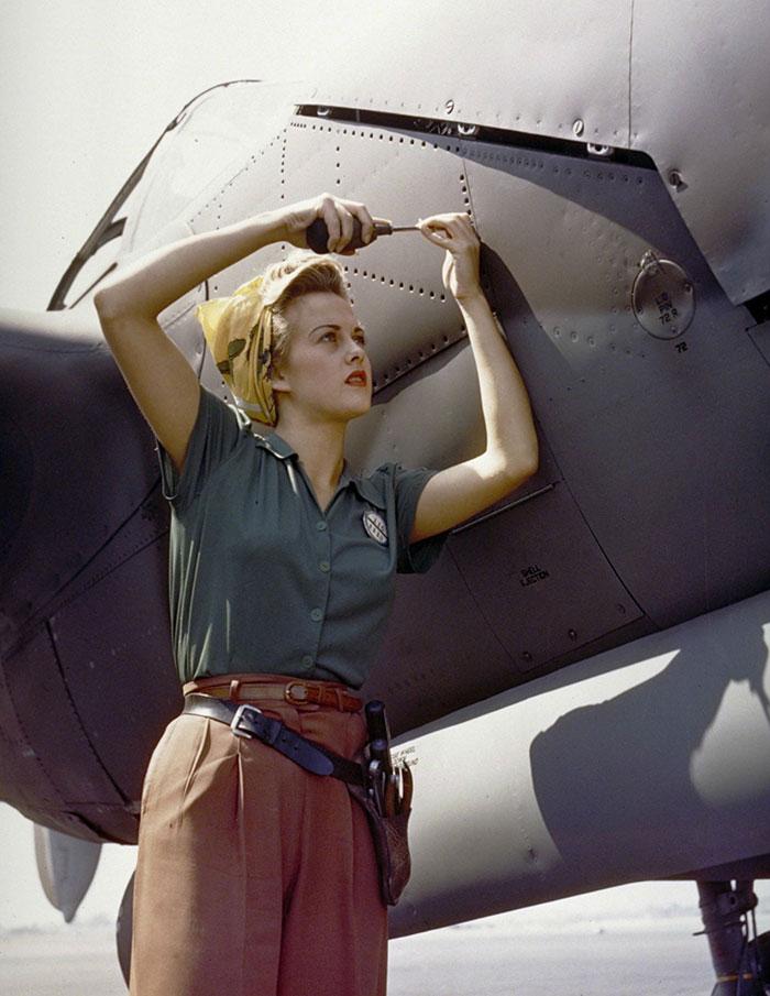 A Female Lockheed Employee Works On One In Burbank, California (1944)