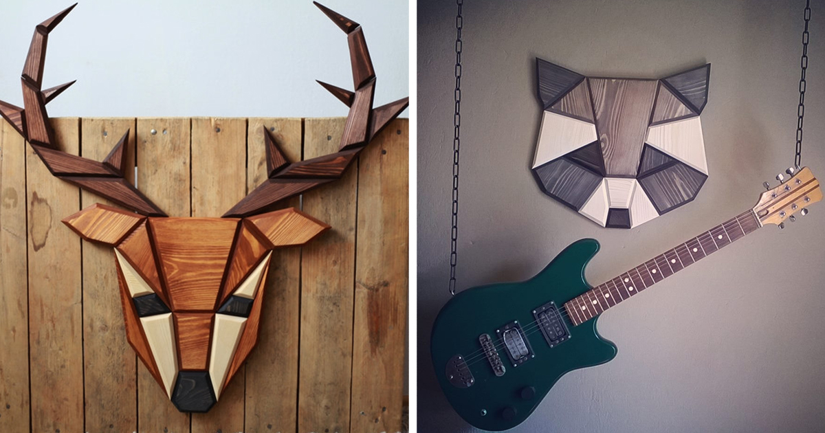 Wooden zoo i make geometric animal heads from wood for Animal wall decoration