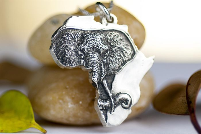 Elephant In Africa Sterling Silver Necklace