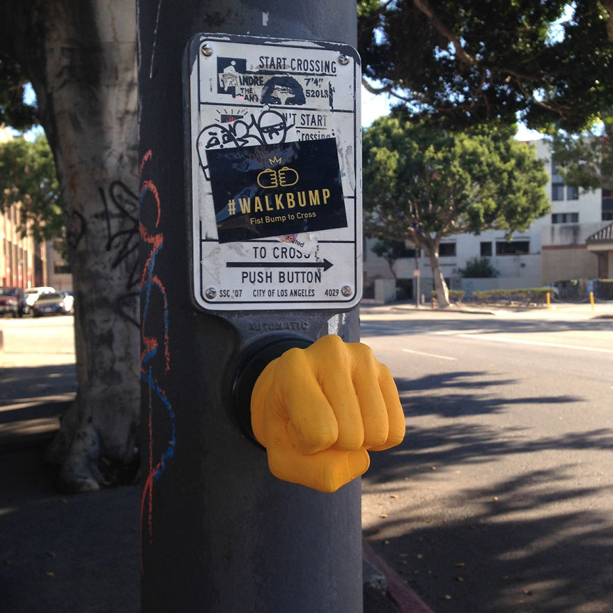 Fist-Bump Your Traffic Pole To Cross The Street Instead Of Pushing A Button
