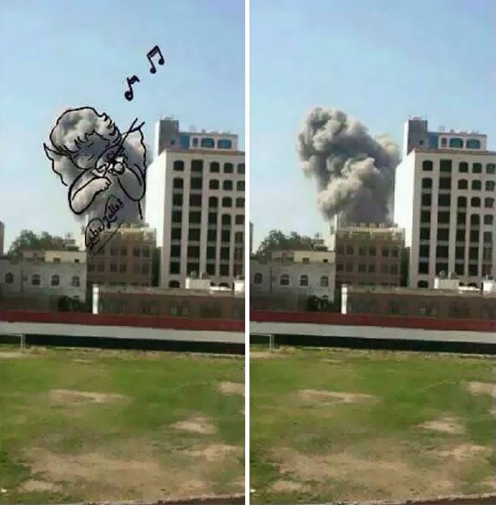 Yemeni Artists Turn Explosion Smoke Into Powerful Images