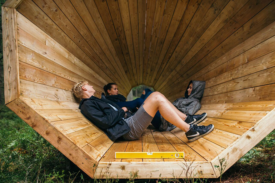 Estonian Students Build Giant Wooden Megaphones To Listen To The Forest