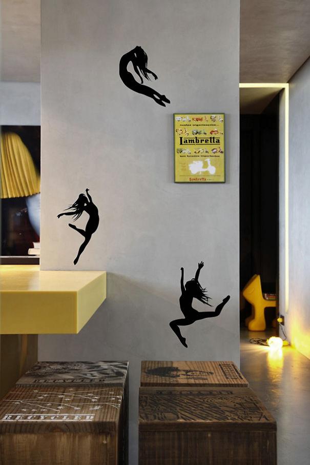 Miniature Dancers Dancing On Wall