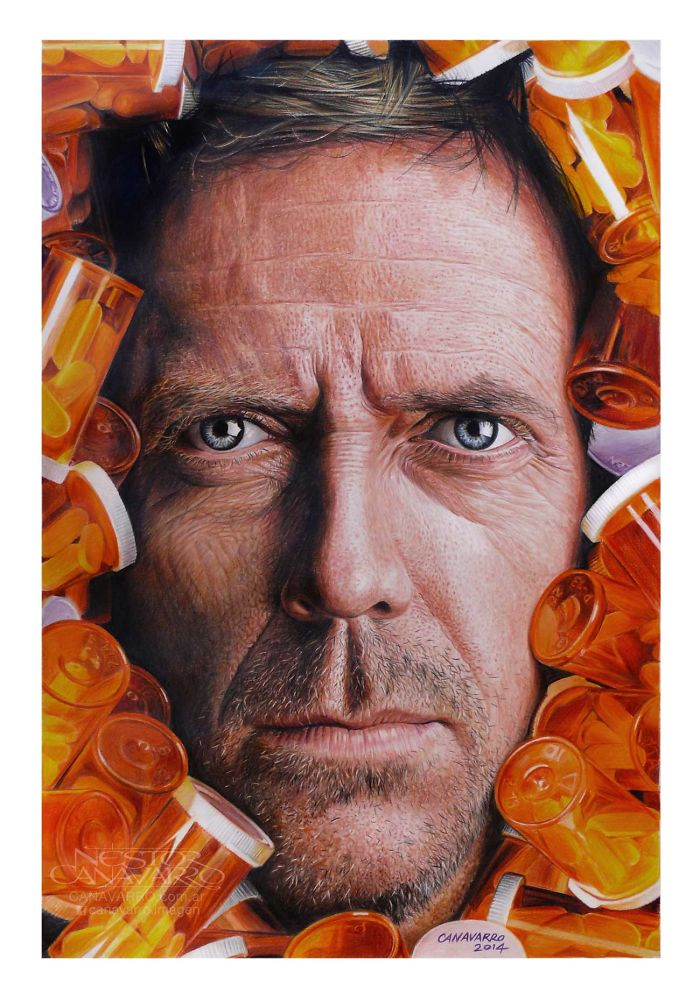 House Md Realistic Portrait In Color Pencils
