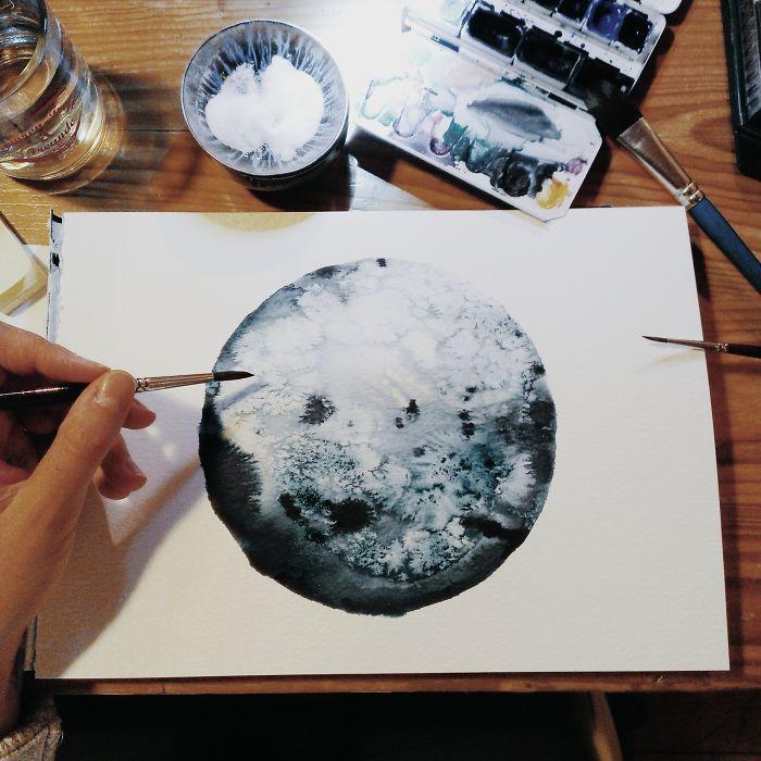 I Watercolor Monochromatic Indigo Moons