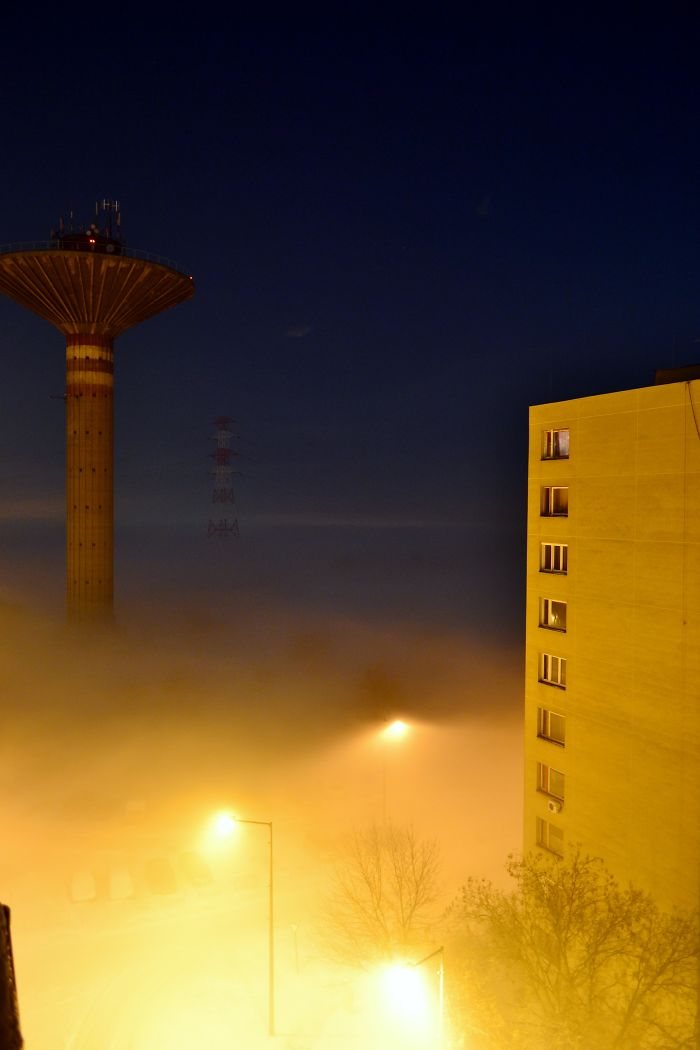 Fog In Center Hungary Below Water Tower