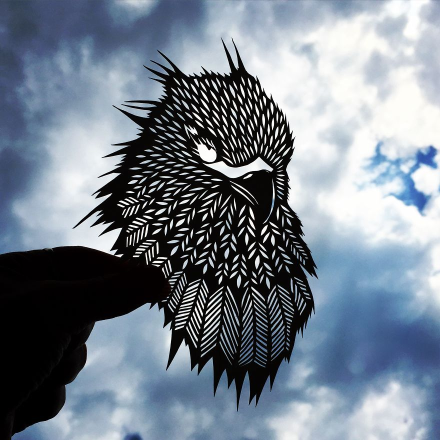I Handcut Paper Animals And Use The Sky To Bring Them To