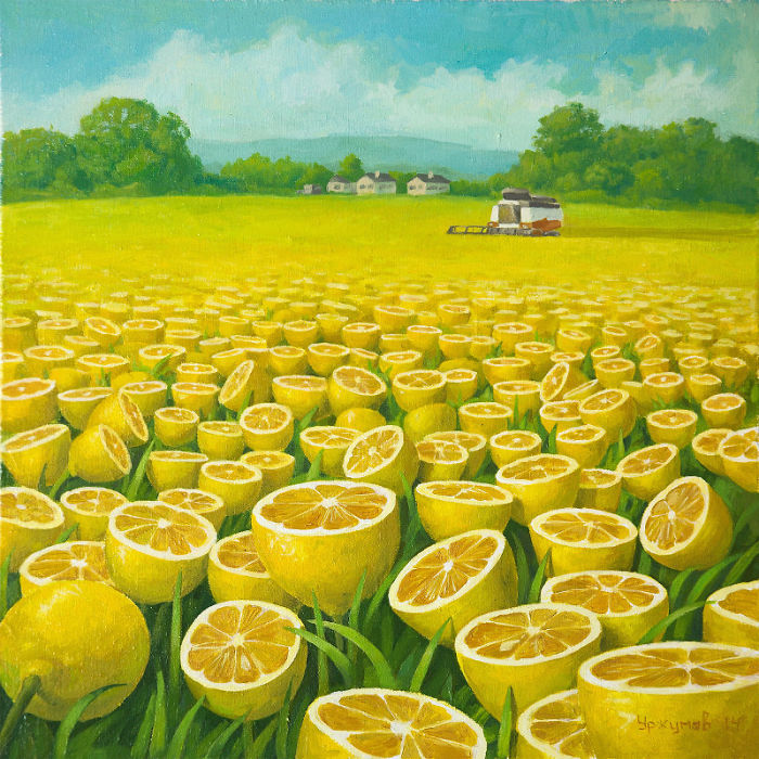 World Full Of Lemons By Surrealist Painter Vitaly Urzhumov