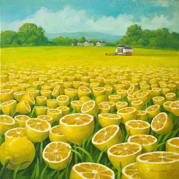 World Full Of Lemons By Surrealist Painter Vitaly Urzhumov