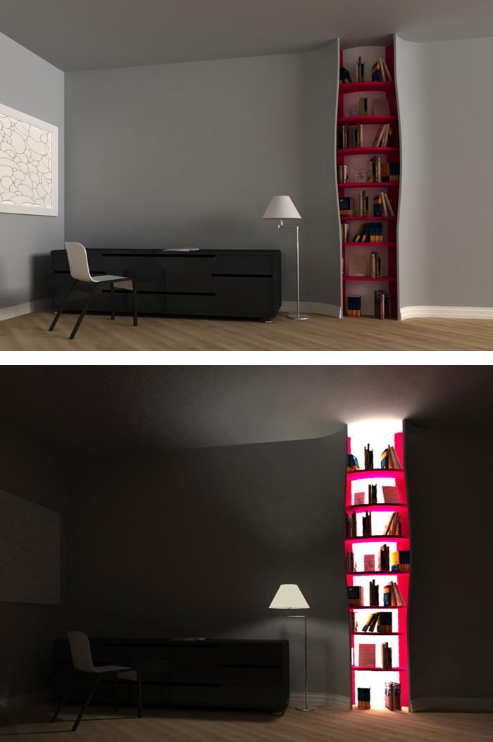5. Đèn được thiết kế bên trong giá sách khi bật lên tạo nên một không gian ấn tượng