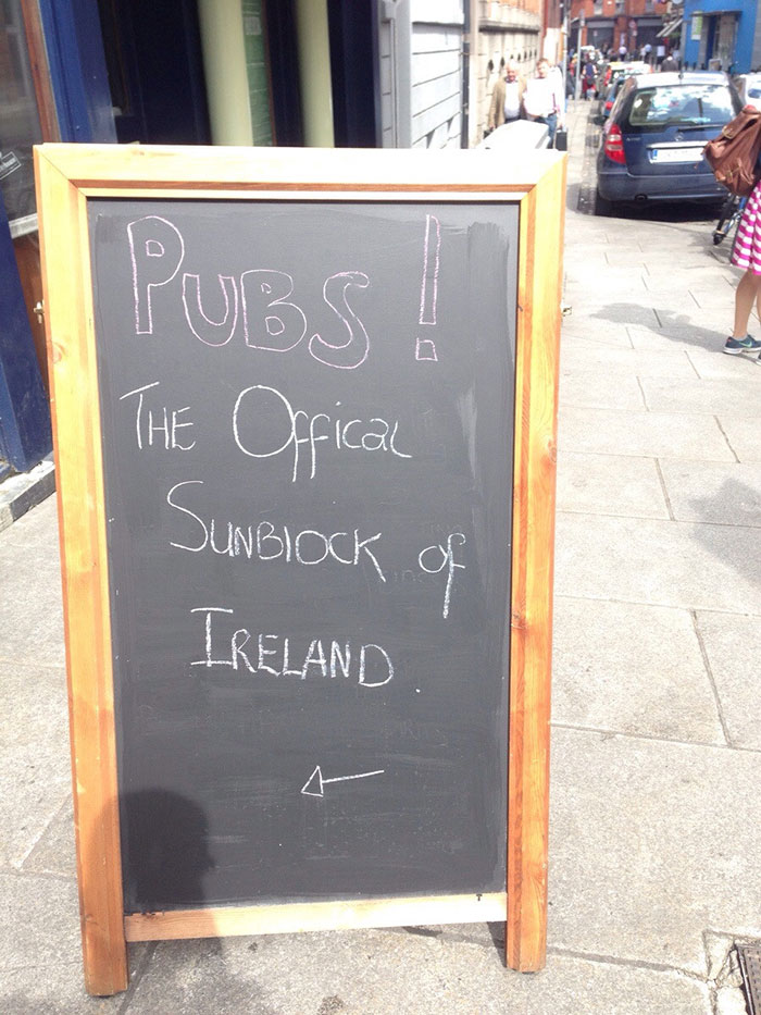 Sign Outside A Pub In Ireland