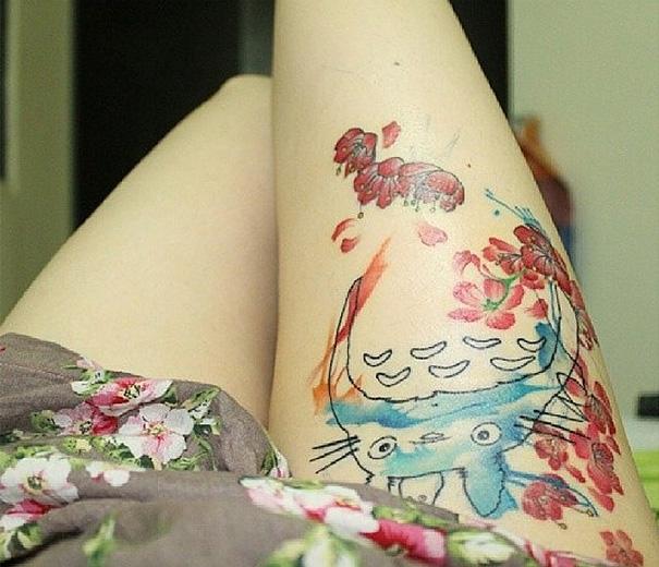 Watercolor Style Totoro Tattoo