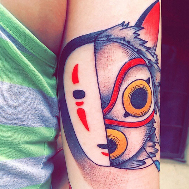 Montage Of No-Face And Princess Mononoke Tattoo | Bored Panda