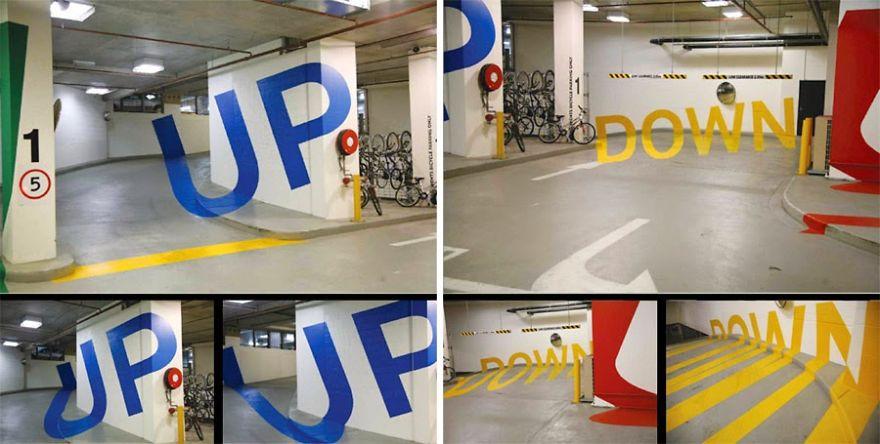 Parking Garage Optical Illusion